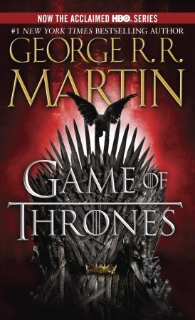 Book cover of 'A Game of Thrones'. Cover is dark, with the Iron Throne behind the title. The Iron Throne is made of swords and is a key component.
