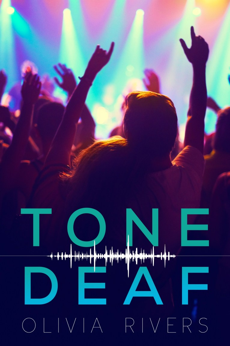 Book cover of 'Tone Deaf'. Cover shows a nightclub scene with bright strobe lights. Two people stand at the front, with their hands up. One has their head on the other's shoulder.