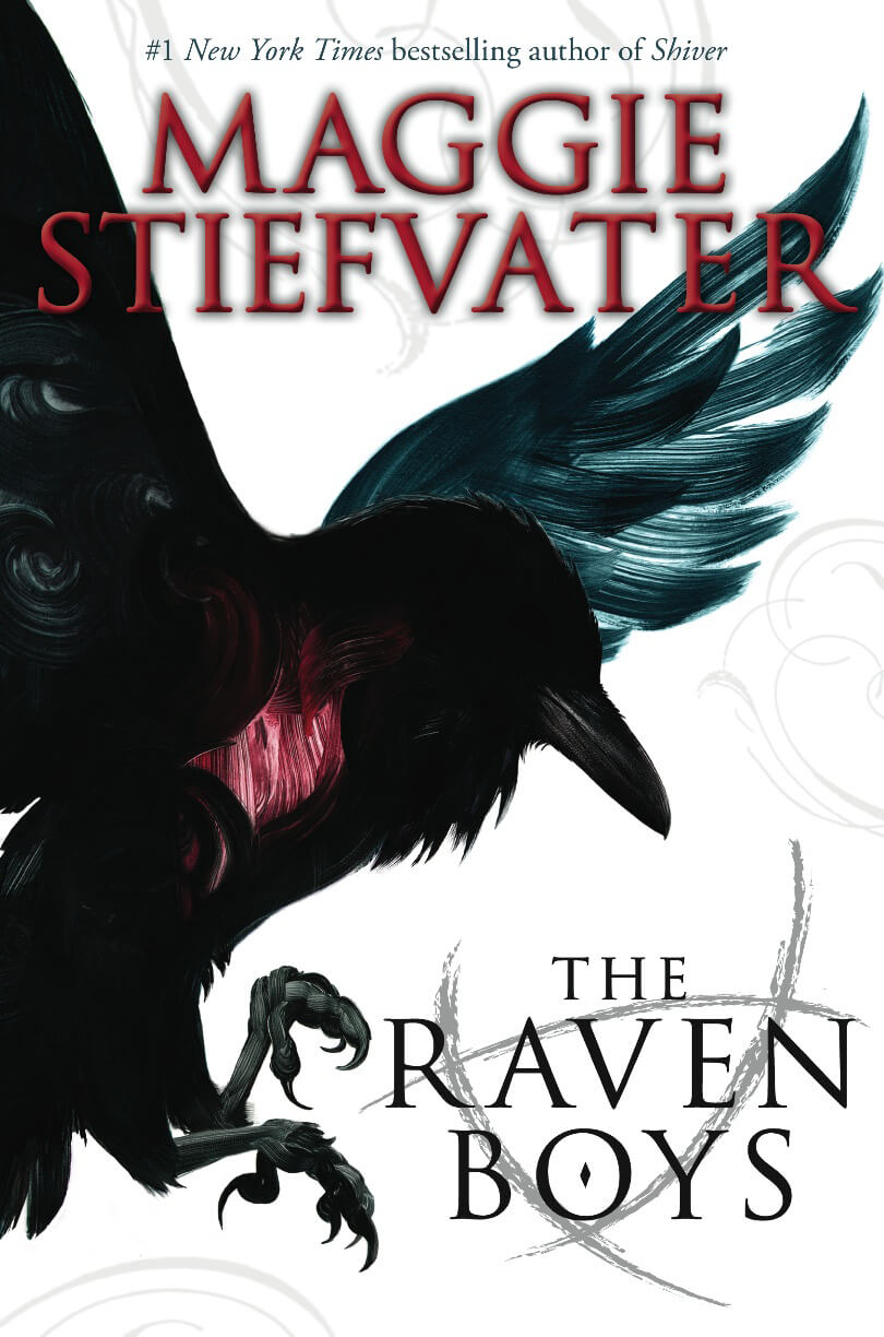 Book cover of 'The Raven Boys'. Cover is white, with an illustrated raven covering most of the page. The raven's heart is a bright red, which stands out against the black feathers.