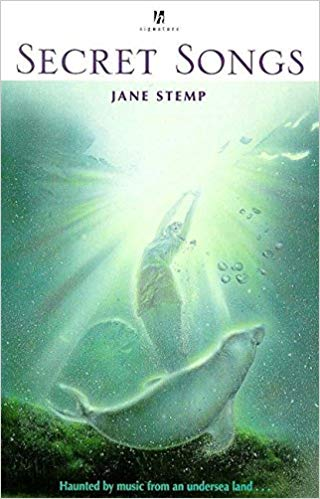 Book cover of 'Secret Songs'. Cover shows a person under the water, reaching up to the surface. A seal is at their feet.