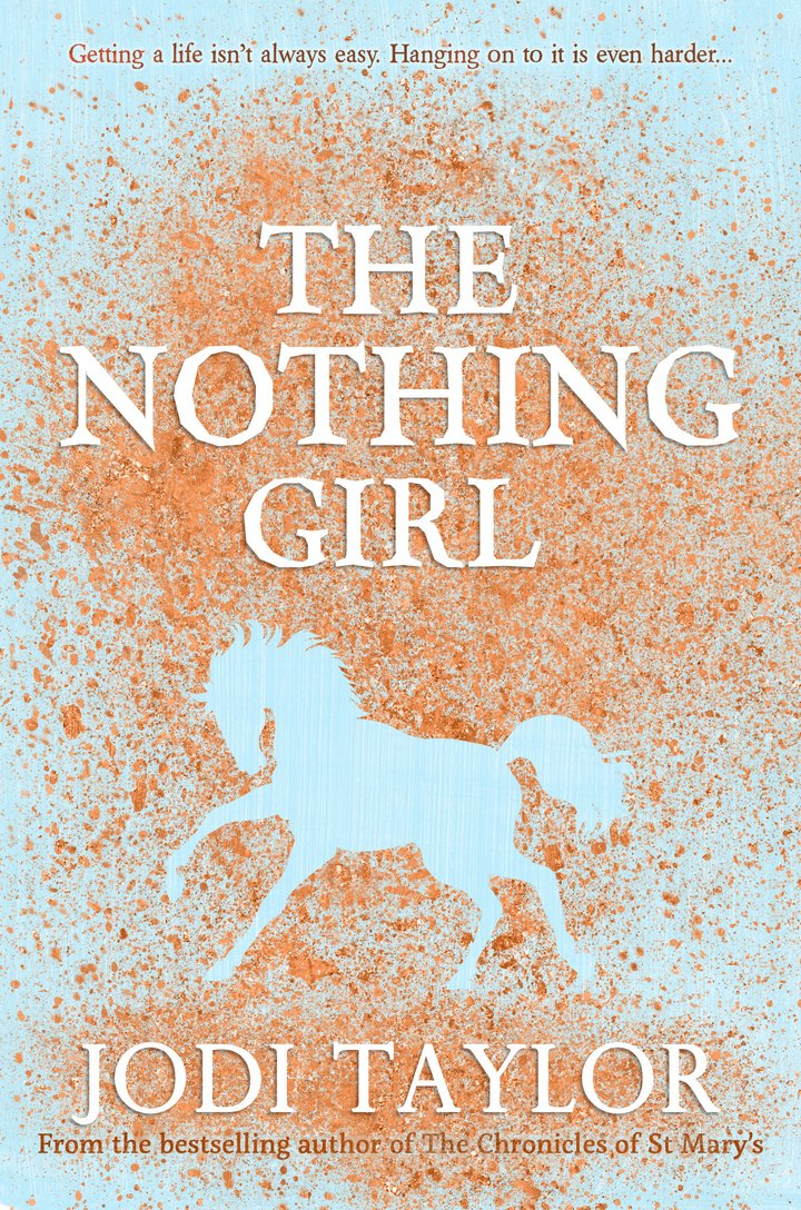 Book cover of 'The Nothing Girl'. Cover is a pale blue colour, with what looks like orange spray paint used to stencil around the shape of a horse.