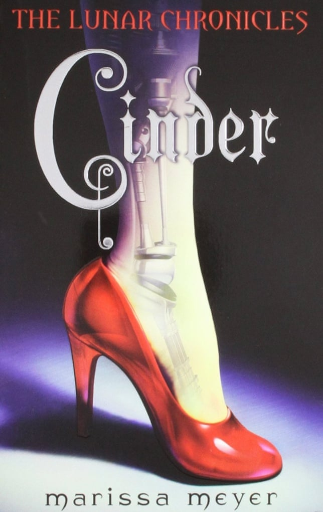 Book cover of 'Cinder'. Cover shows a foot in a red heeled shoe. The skin of the foot is translucent, revealing bones that look to be made of metal. Above the title of the book reads the text 'The Lunar Chronicles'.