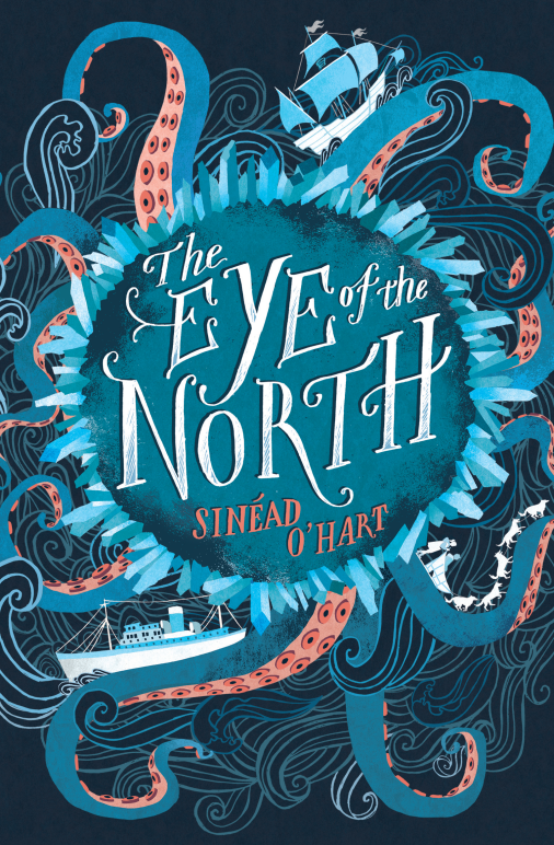 Book cover of 'The Eye of the North'. Cover is illustrated with title and author's name in the middle, surrounded by a ring of ice crystals. Out of this spring tentacles and stylised waves, upon which a steam ship, sailing ship, and two children on a dogsled are drawn, positioned in the bottom left, top right and bottom right corners respectively.