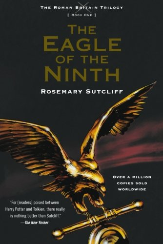 Book cover of 'Eagle of the Ninth'. Cover is dark, with a golden figure of an eagle spreading its wings cross the bottom half. The title is in gold lettering, under which is the author's name in white text.