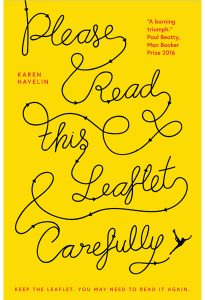 Book cover of 'Please Read This Leaflet Carefully'. Cover is bright yellow, with the title of the book written in black with arrows at different places, drawn by an ice skating figure.