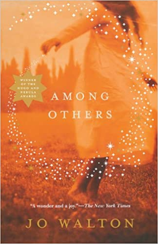 Book cover of 'Among Others'. Cover is a landscape that is in red and orange hues, which makes it look like an autumn evening. A person wearing a dress is blurred to the righthand side of the cover, and a circle of sparkles rings the book's title in the centre.