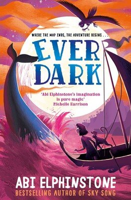The book cover of Everdark is a scene at sea, where a large whale's tail is protruding out of the water, and a silhouette of a boat is on the bottom right of the cover. A person and an animal in the boat look towards the whale. The cover has a pink and orange tint, making it look like sunset.