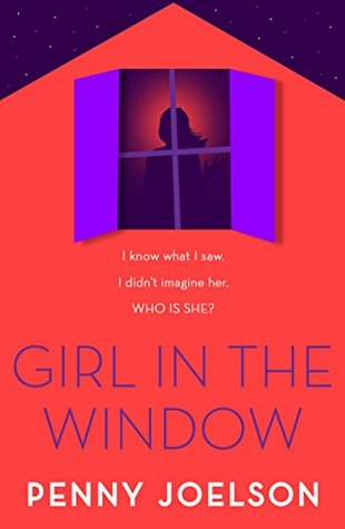 Cover of 'The Girl in the Window'. Over the top of a red background, a silhouette of a girl in a window above the title of the book, both in purple.