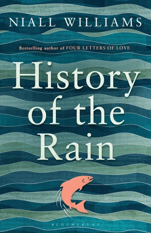 Cover of 'History of the Rain'. A painting of waves in different shades of blue with a leaping salmon in pink at the bottom and the title in white over the top in the center.