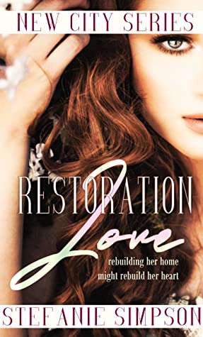 Book Cover of 'Restoration Love'. A picture of a woman holding her long dark brown hair away from her eye. The book title is in white over the top of the image.