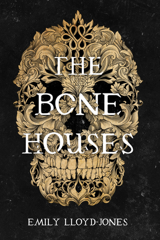 Book Cover of 'The Bone Houses'. A large Skull made up of leaves and flourishes on a black background. The title is in white in front of the skull.