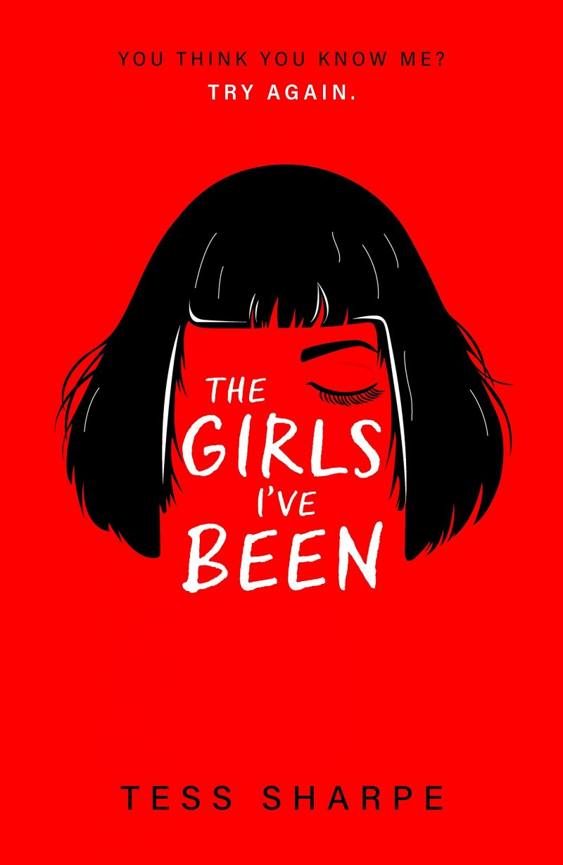 Book cover of 'The Girls I've Been'. A drawing of a black wig as if upon an invisible person, with only their hand visible holding out keys. The background is bright red and the title is in black.