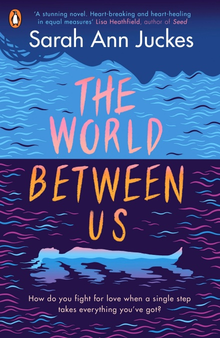 Book cover of 'The World Between Us'. A blue drawing of a woman lying in water with the title of the book in large orange letters